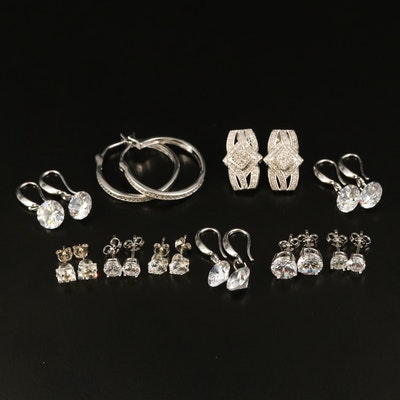 Sterling Earrings with Diamond, Cubic Zirconia and Glass