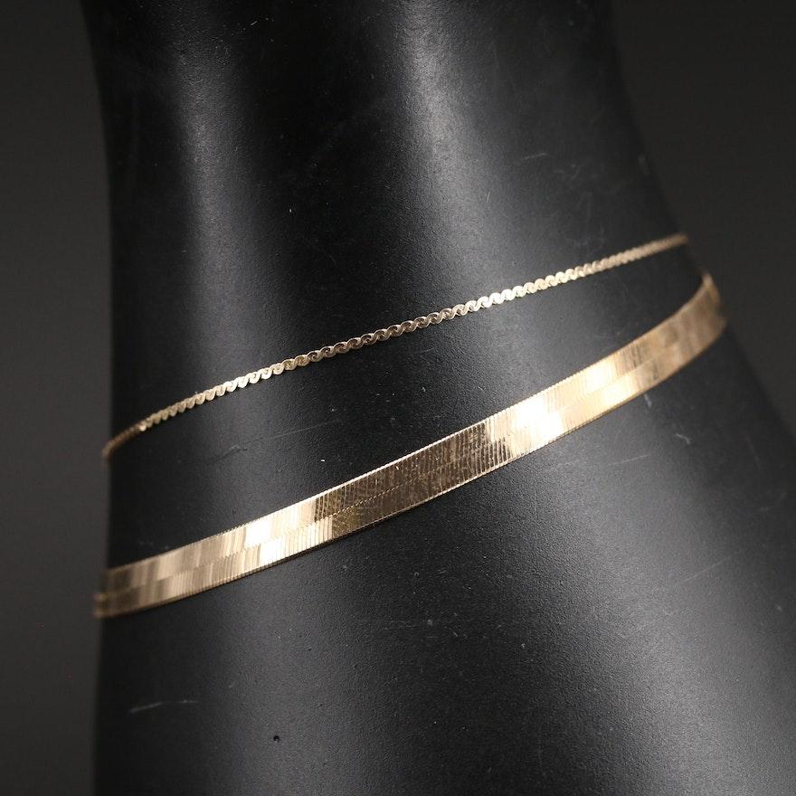 Italian 14K Herringbone Bracelet and Gold-Filled Serpentine Chain Bracelet