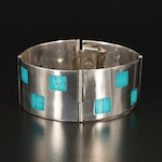 Mexican Sterling Silver Panel Bracelet with Faux Turquoise Inlay