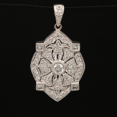 Antique Style 18K Diamond Pendant