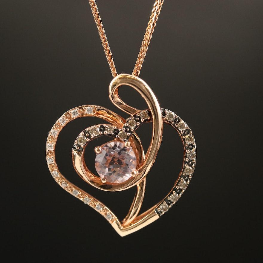 Le Vian 14K Amethyst and Diamond Heart Pendant Necklace