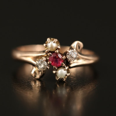 Victorian 10K Ruby, Pearl and Diamond Ring
