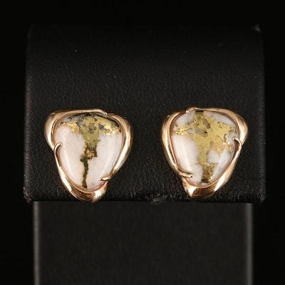 14K Gold in Quartz Earrings