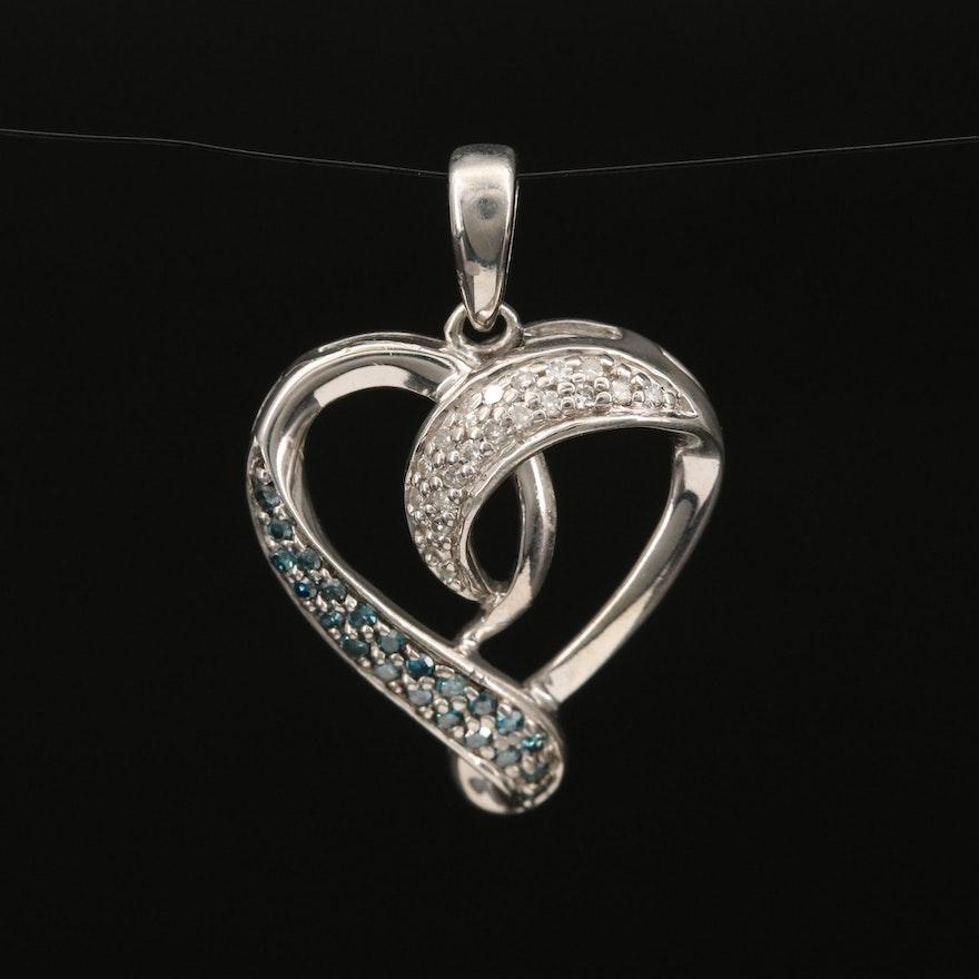 Sterling Diamond Heart Pendant
