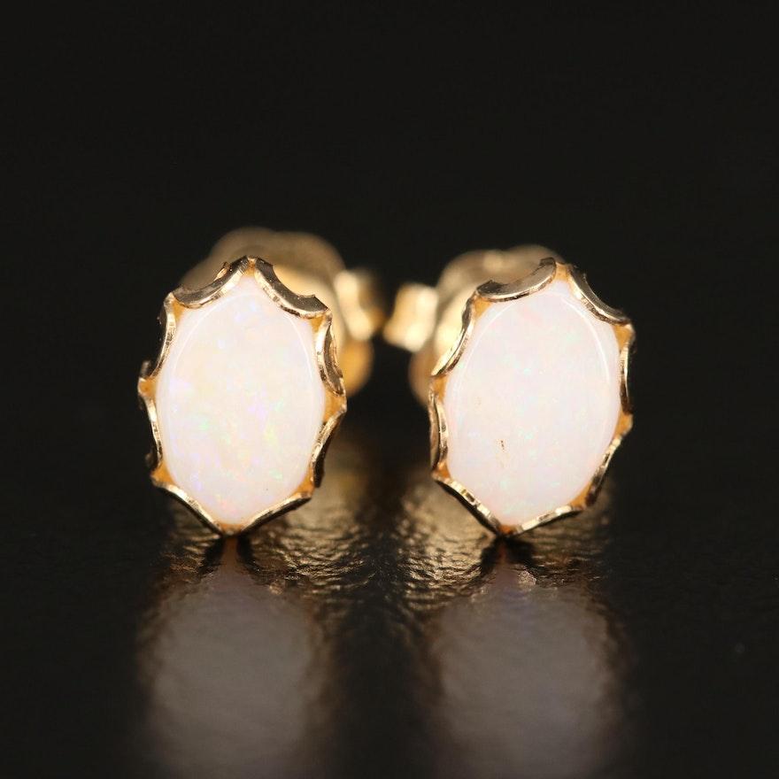 14K Opal Stud Earrings with Scalloped Edges