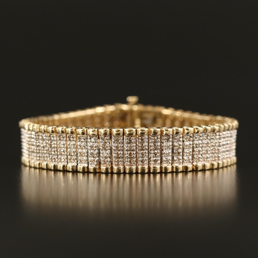 10K 4.06 CTW Diamond Multi-Row Bracelet