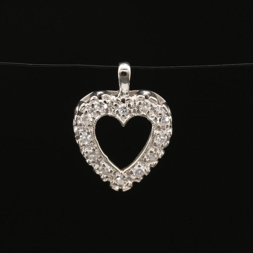 14K Diamond Open Heart Pendant
