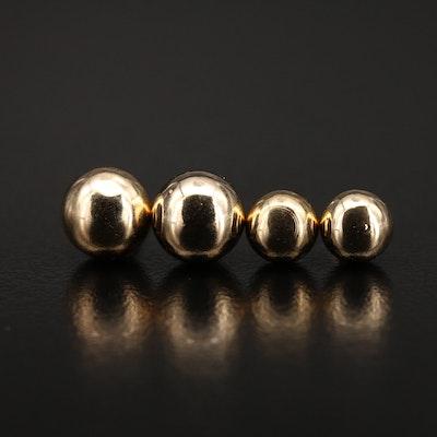 Ball Stud Earrings Including 14K