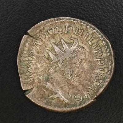Ancient Roman Imperial AR Antoninianus Coin of Philip I 'The Arab', ca. 247 AD