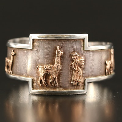 Peruvian Sterling Llama and Farmer Bracelet with 18K Accents