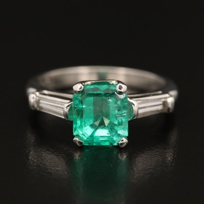 Platinum 2.03 CT Columbian Emerald and Diamond Ring with GIA Origin Report