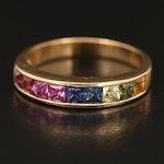 18K Multicolor Sapphire Band
