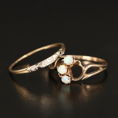 Vintage 14K and 18K Diamond Band and 9K Opal Ring