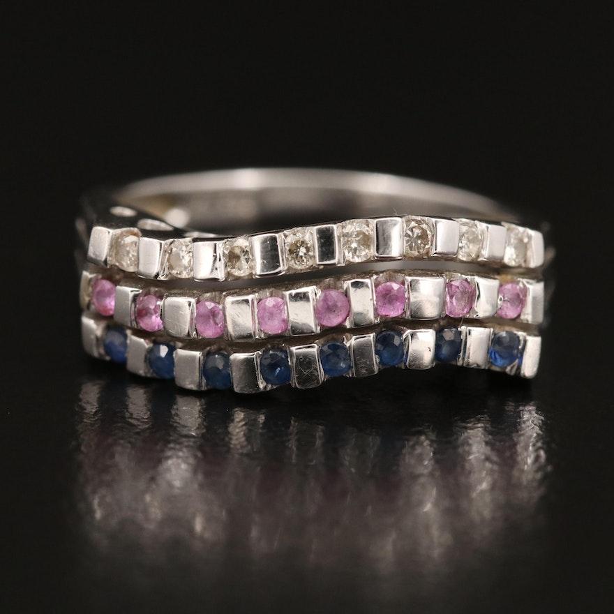 14K Sapphire Diamond Multi-Row Ring