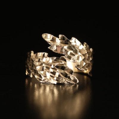 14K Diamond Cut Foliate Bypass Ring
