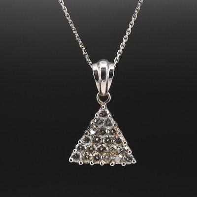 14K Diamond Triangle Pendant on Turkish Chain Necklace