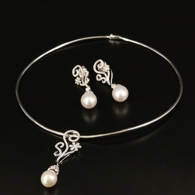 18K Pearl and 6.26 CTW Diamond Enhancer Pendant Necklace and Drop Earrings
