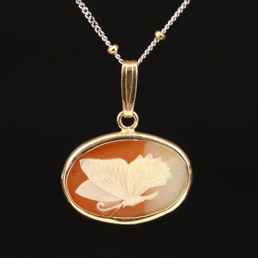 14K Butterfly Cameo Pendant on Station Chain