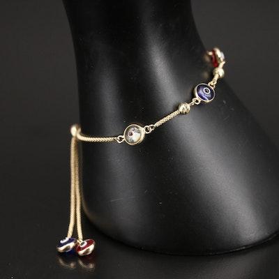 14K Glass Nazar Bolo Station Bracelet