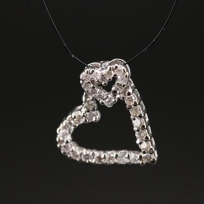 14K Diamond Double Heart Pendant