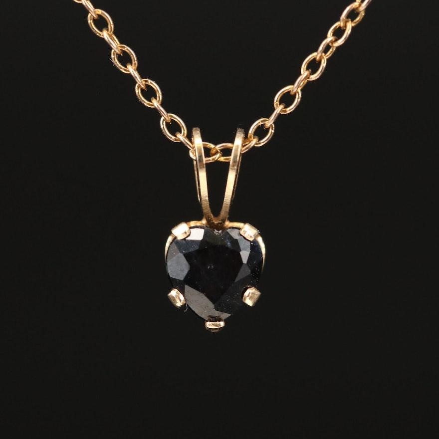 14K Sapphire Heart Pendant on Sterling Silver Chain