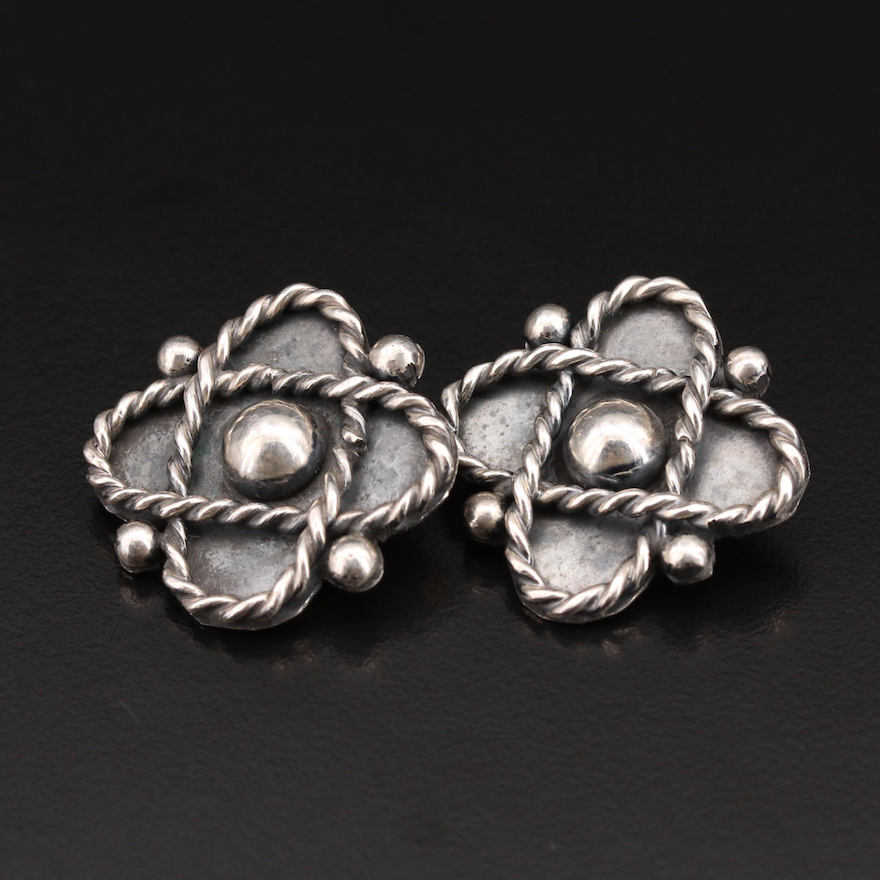 Mexican Sterling Clip Earrings with Rope Detail