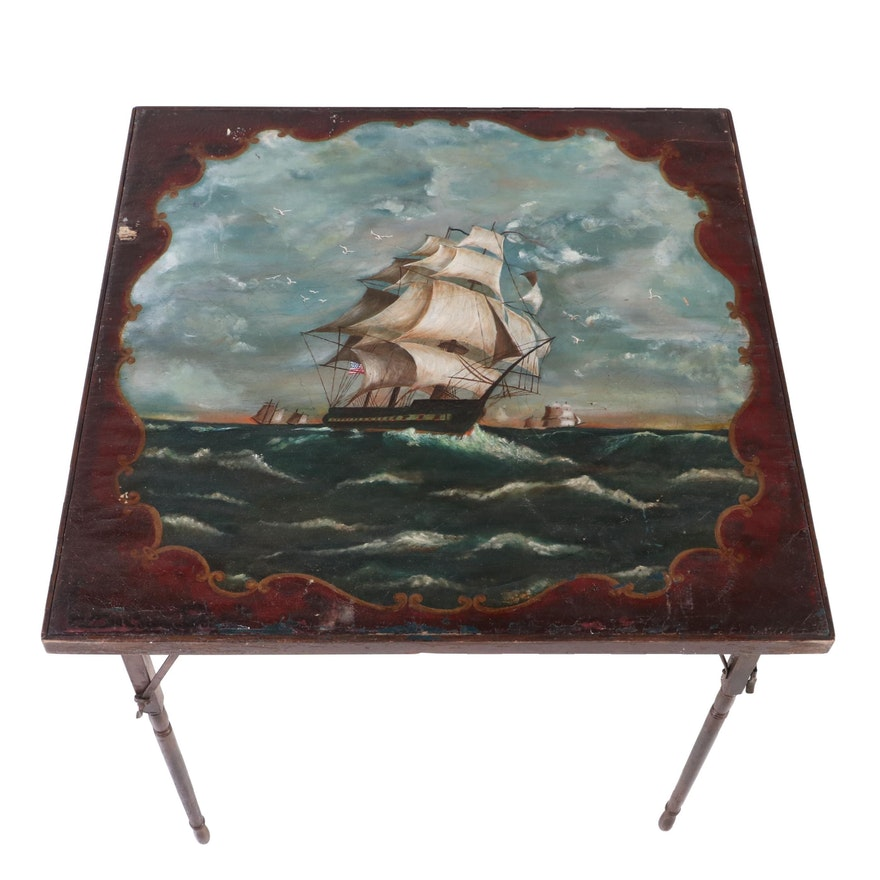 Wood Folding Table with Painted Canvas Top of Nautical Scene, Early 20th Century