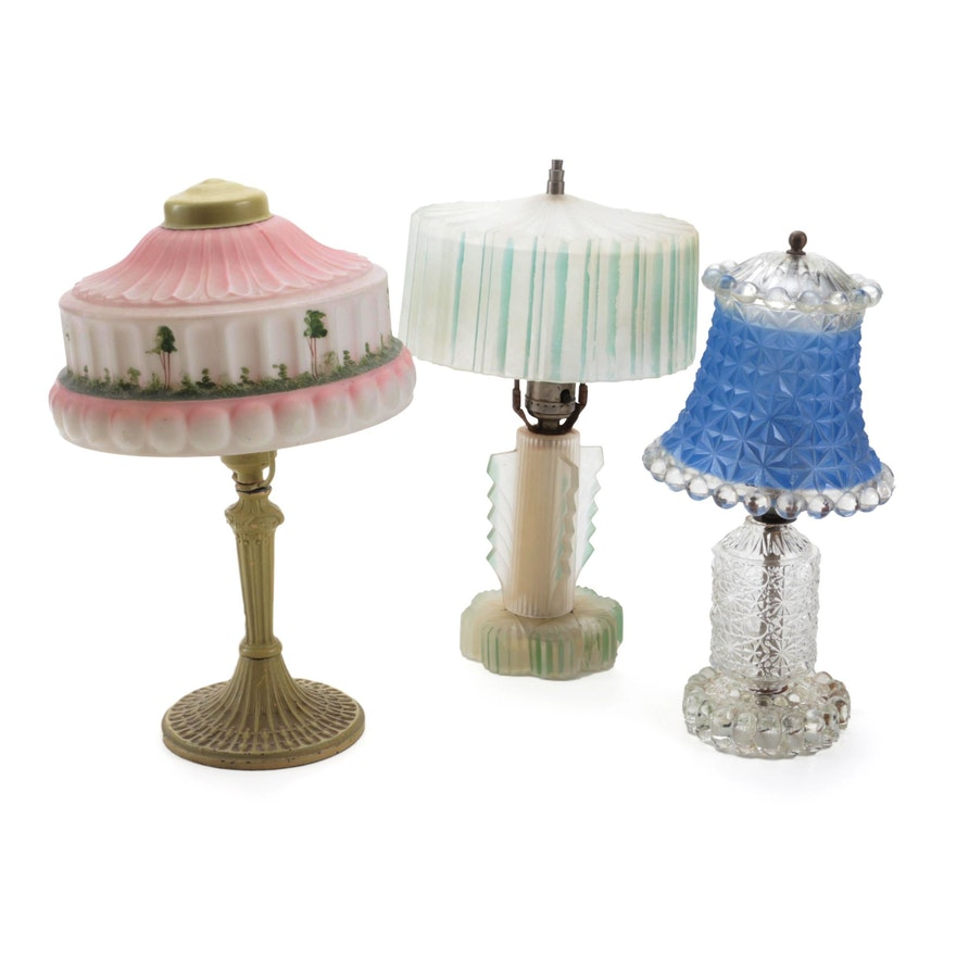 PLB & G Co. Boudoir Lamp with Hand-Painted Shade, and Other Lamps
