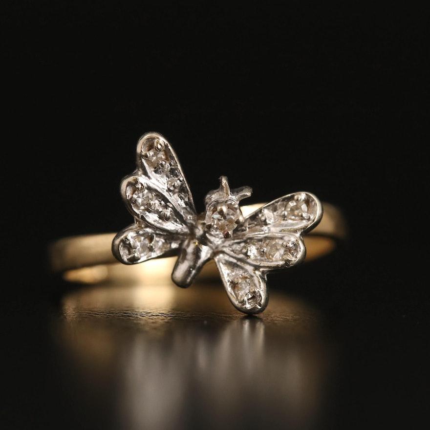 14K Diamond Butterfly Ring