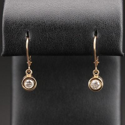 14K Bezel Set Diamond Earrings