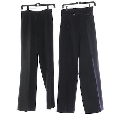 Navy Wool Sailor Pants with Black Wool Blend Slacks