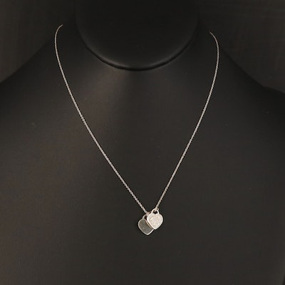 """Tiffany & Co. """"Return to Tiffany"""" Sterling Mini Double Heart Necklace"""