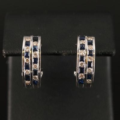 14K Brown Diamond and Sapphire J Hoop Earrings