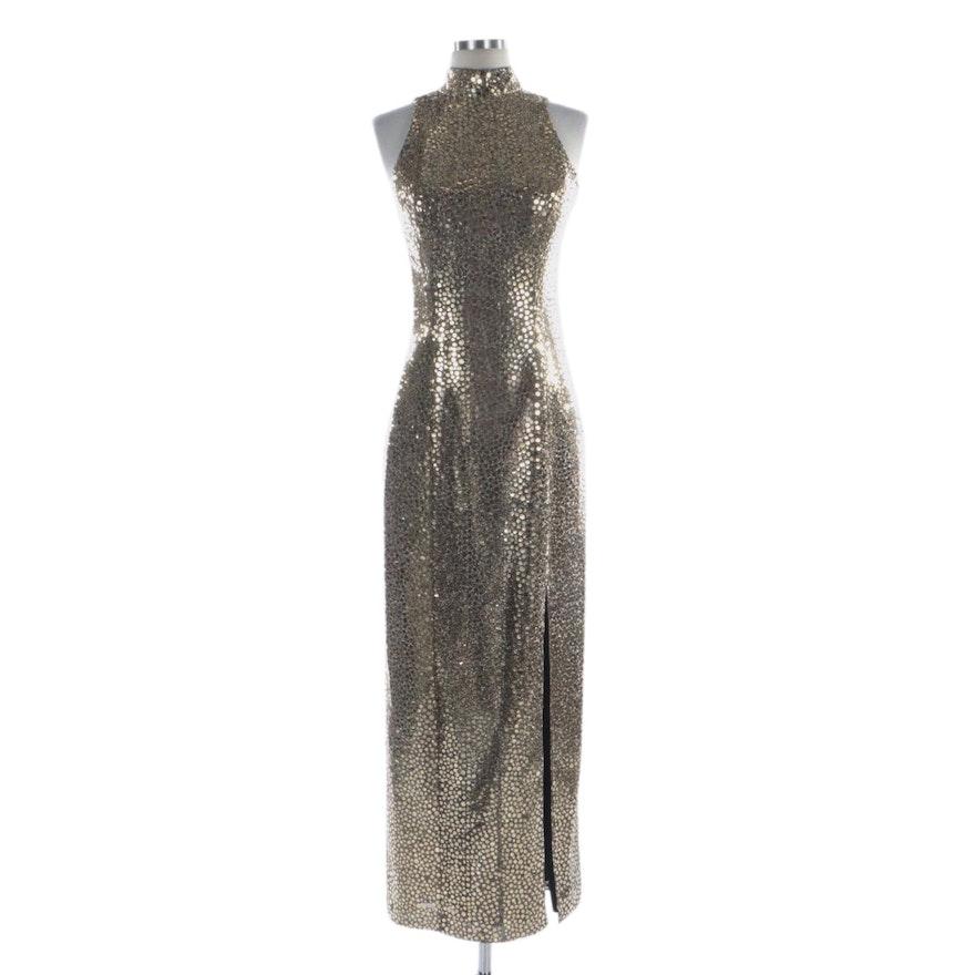Flirtations Gold Confetti Dot Pailette Column Dress with Side Slit