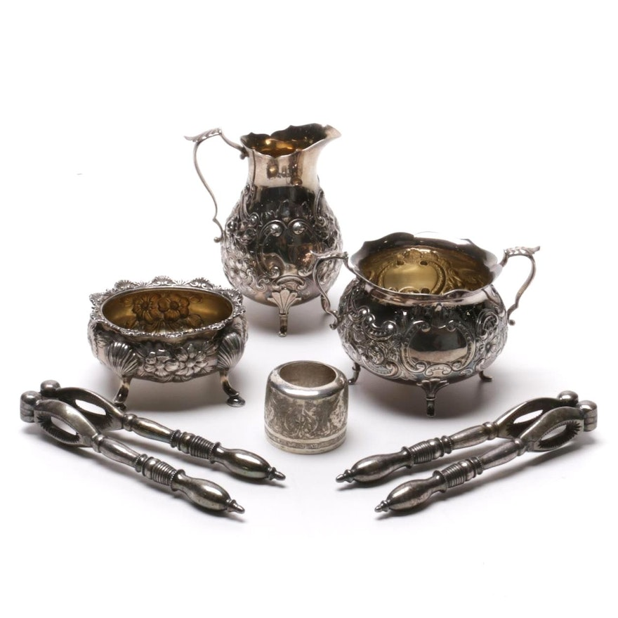 Gorham Cream and Sugar Bowls with Other Sterling Silver Serving Pieces
