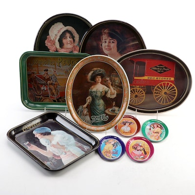 Coca-Cola Tin Lithograph Serving Trays, Tip Trays and Other Tin Trays