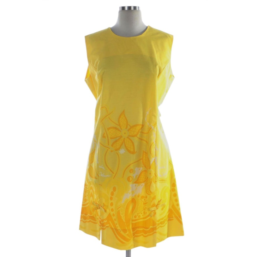 "Beachcomber ""Ocean Waves"" Screened Print Yellow Cotton Sleeveless Shift Dress"