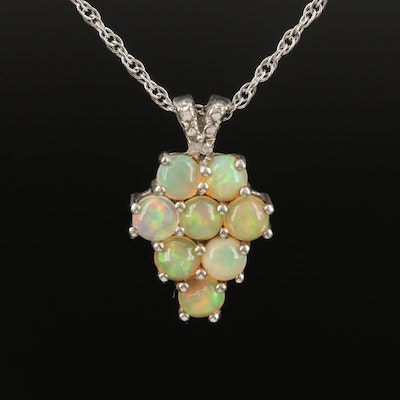 Sterling Opal and Diamond Pendant Necklace