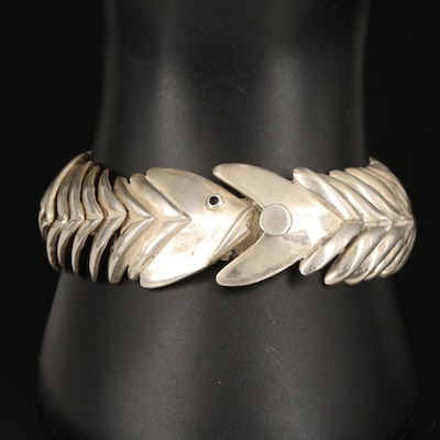 Mexican Sterling Articulated Fish Bone Bracelet