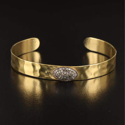 Diamond Textured Cuff with Sterling Accent