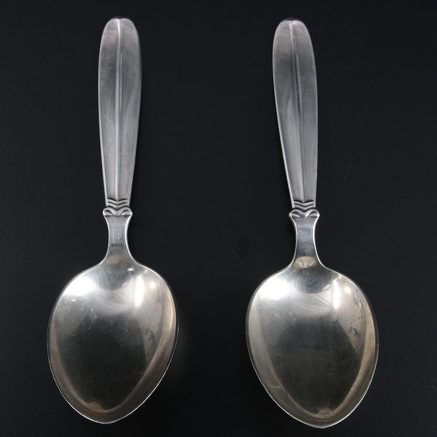 E. Dragsted Danish Sterling Silver Serving Spoons, Mid-20th Century