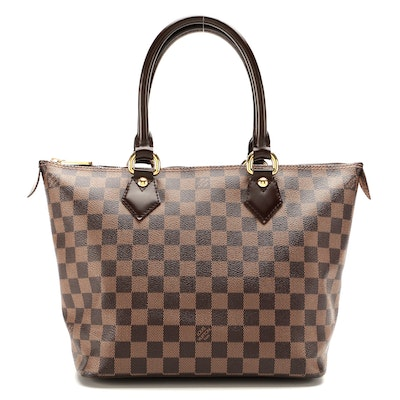 Louis Vuitton Saleya PM Bag in Damier Ebene Canvas and Smooth Leather
