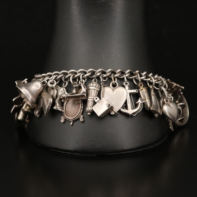 Vintage Charm Bracelet Including Italian and Mexican Sterling