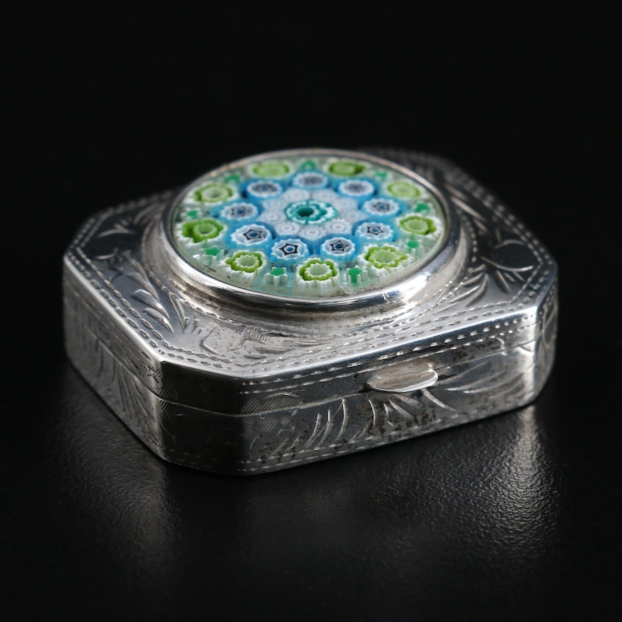 Chased Sterling Silver Pill Box with Italian Millefiori Glass Medallion