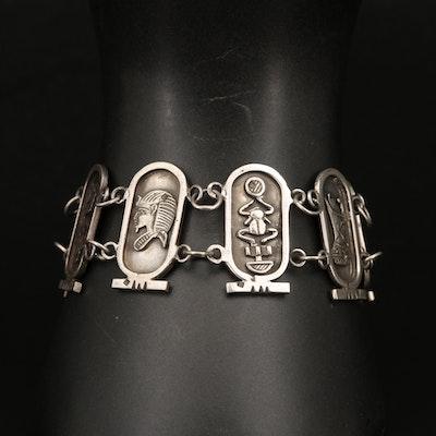 Vintage Egyptian Cartouche 800 Silver Panel Bracelet