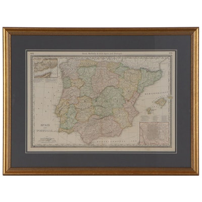 "Rand, McNally & Co.'s Wax Engraving Map ""Spain and Portugal,"" circa 1903"