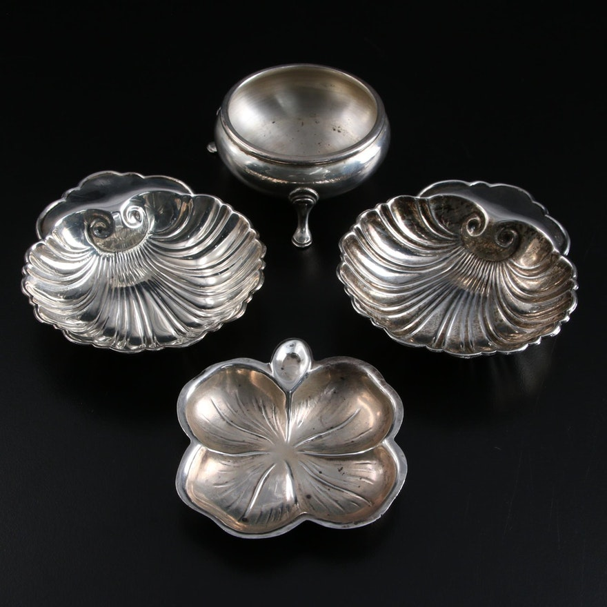 Gorham Sterling Silver Salt Cellar with Lenox and Other Sterling Nut Dishes
