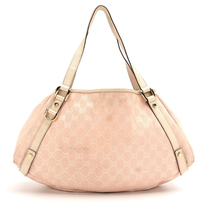 Gucci Pelham Shoulder Bag in Pink GG Canvas and Ivory Leather