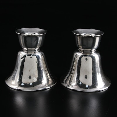 American Sterling Silver Bell Form Candlesticks