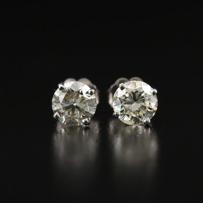 14K 1.86 CTW Solitaire Diamond Stud Earrings with GIA Online Report